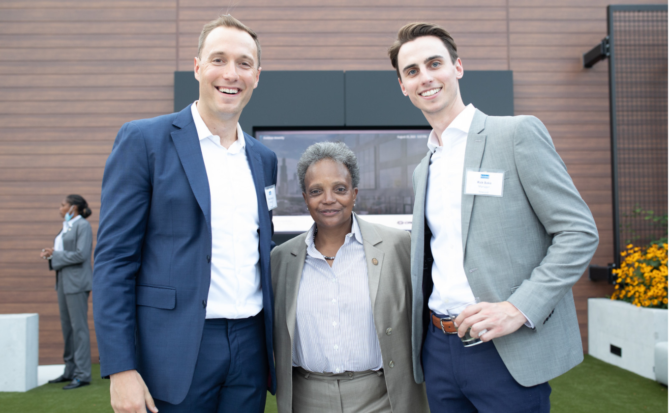 From left to rigth: Nick Santoro, Chicago Mayor Lori Lightfoot, and Rick Bade